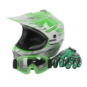 Youth Kids Motocross Offroad Street Dirt Bike Helmet Goggles Gloves Atv Mx Helmet